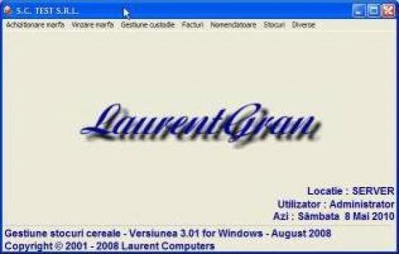 Program software gestiune cereale online LaurentGran de la Laurent Computers Srl
