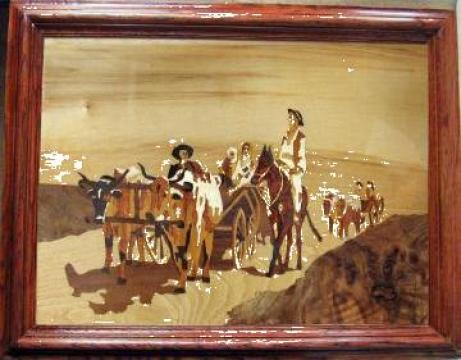 Tablou Car cu boi - intarsie lemn de la Santal Lux Restauration