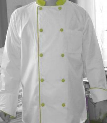Costum pentru bucatari alb cu galben unisex de la Johnny Srl.
