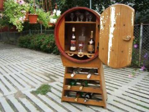 Mobila bar butoi cu suport pentru sticle de la PFA Virciu Craciun