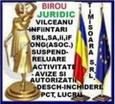 Infiintari firme: PFA, IF, II in judetul Timis de la Birou Juridic Vilceanu
