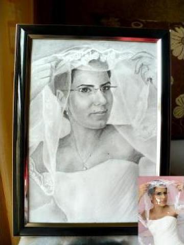 Portret dupa fotografie A4 alb negru cu un personaj de la Baby Portraits - Portrete La Comanda Dupa Fotografie