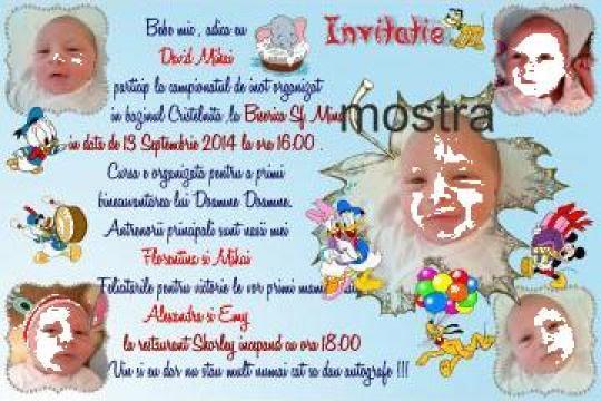 Invitatii botez personalizate cu poza bebelusului de la FairyDreams