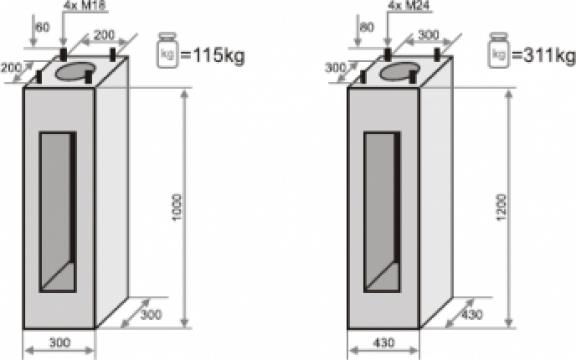 Fundatie prefabricata beton stalpi iluminat F75/200