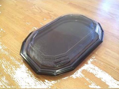 Platou plastic negru cu capac transparent pentru mancare