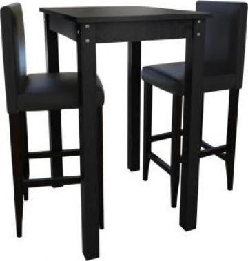 Masa bar cu 2 scaune, negru (240379+240071)