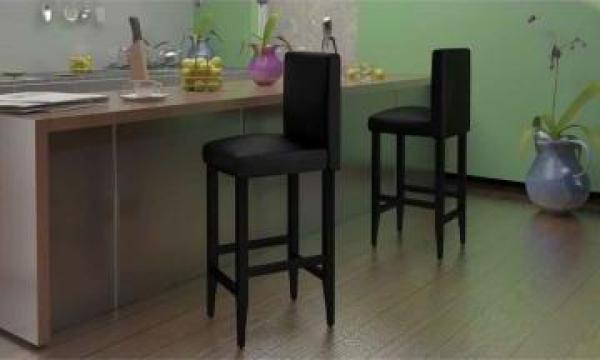 Set 2 scaune bar piele artificiala, negru