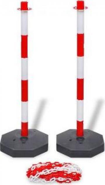 Set stalpi semnalizare trafic cu lant din plastic de 10 m de la Vidaxl