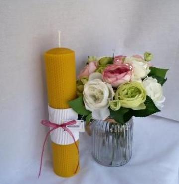 Lumanare ceara de albine pentru botez 30/6 cm de la Cherciu I. Madgalina Pfa