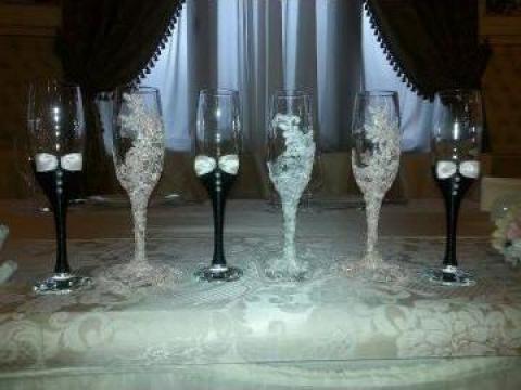 Pahare de sampanie decorate de la Nunta Oradea