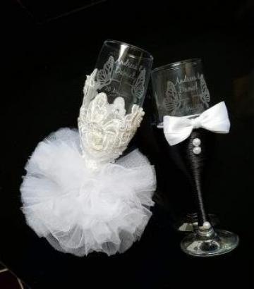 Pahare de nunta Gravate de la