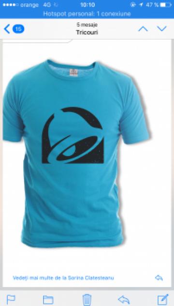 Tricou turcoaz personalizat de la Sc Atelier Blue Srl