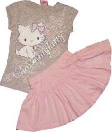 Set tricou si fusta roz pentru fete