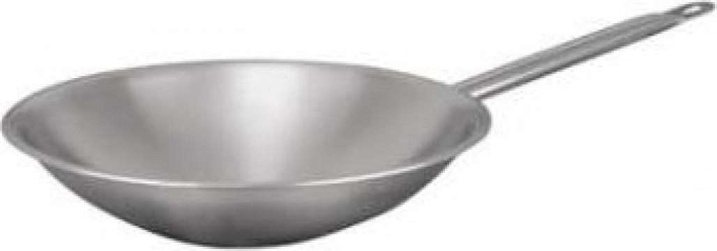 Tigaie inox wok Profi diametru 38x8cm de la Basarom Com