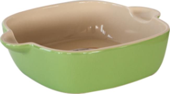 Tava ceramica pentru copt 31x25x6,8cm patrata verde Urban de la Basarom Com