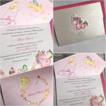 Invitatie botez Unicorn roz de la Simonne