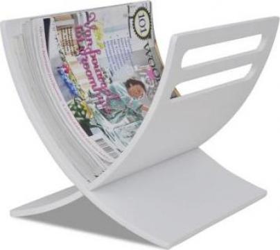 Suport din lemn pentru reviste alb de la Vidaxl