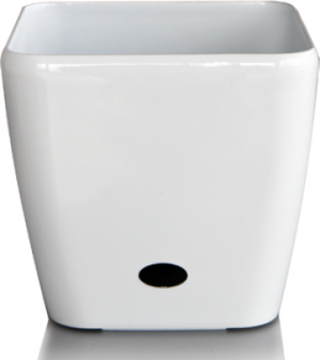 Ghiveci patrat Premium sistem de udare picurare 37x35cm alb de la Basarom Com