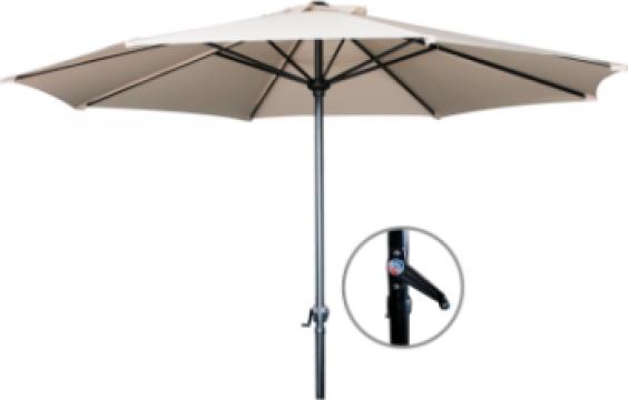 Umbrela soare 270cm culoare bej cu mecanism rabatare de la Basarom Com