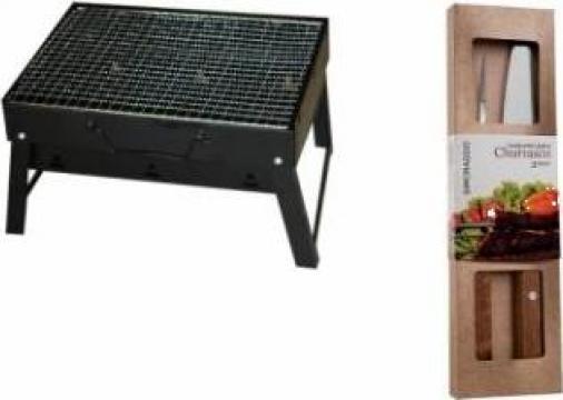 Gratar portabil carbune Raki + set furculita si cutit de la Basarom Com