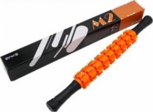 Roller masaj stick cu 9 role zimtate portocalii (R123-1) de la Neng Tcm Srl