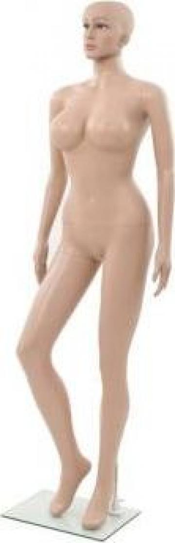 Manechin feminin, suport din sticla, bej, 180 cm de la Vidaxl