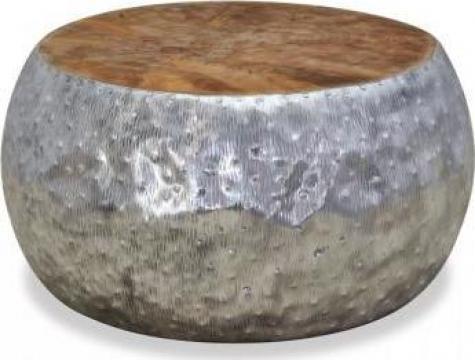Masuta de cafea din aluminiu si tec, 60 x 60 x 30 cm