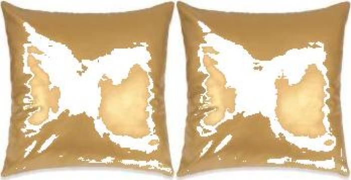 Set perne decorative 2 buc. poliuretan 45x45 cm auriu