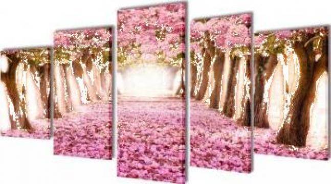 Set tablouri de panza ciresi in floare 200 x 100 cm de la Vidaxl