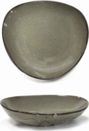Farfurie portelan adanca pentru supa Antique Grey 23cm de la Basarom Com