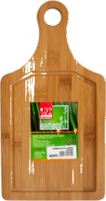 Tocator bucatarie bambus cu toarta Raki 34x18x0,9cm de la Basarom Com