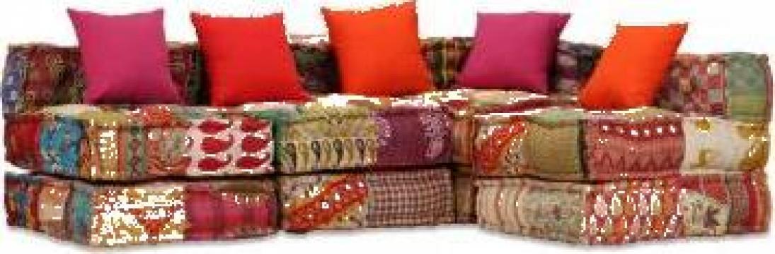 Canapea pat modulara cu 4 locuri textil petice de la Vidaxl
