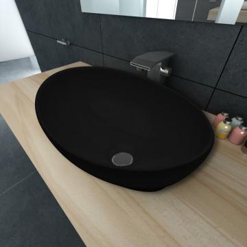 Chiuveta baie ovala, negru de la Vidaxl