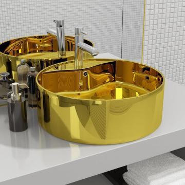 Chiuveta cu preaplin, auriu, 46,5x15,5 cm, ceramica