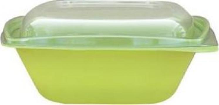 Bol salata patrat verde 1000cc+capac transparent 300 buc/bax de la Cristian Food Industry Srl.