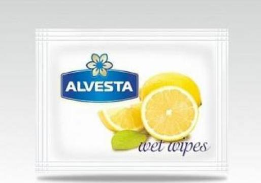 Servetele umede Alvesta Lemon 6x8cm amb.indiv. 1000 buc/bax de la Cristian Food Industry Srl.