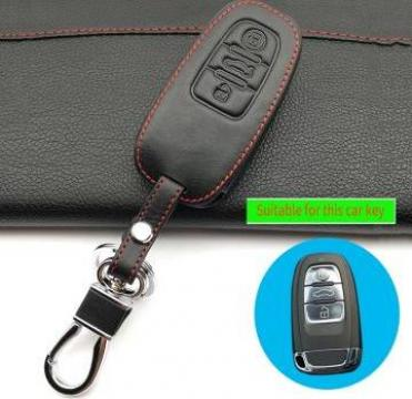Husa piele cheie Audi A3 A4 A5 A6 A7 A8 Q5 Q8 cu 3 butoane de la Caraudiomarket.ro - Accesorii Auto Dedicate