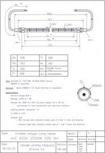 Lampa infrarosu JHC 400V 2500W 500 NH Toshiba Lighting