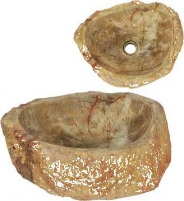Chiuveta, crem, 45 x 35 x 15 cm, piatra fosila de la Vidaxl
