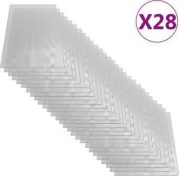 Placi din policarbonat, 28 buc., 121 x 60 cm, 4 mm