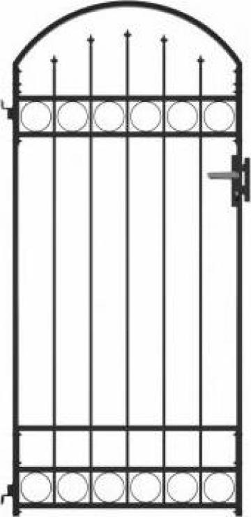 Poarta de gard cu arcada, negru, 100 x 200 cm, otel
