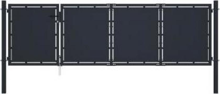 Poarta de gradina, antracit, 350 x 75 cm, otel