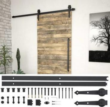 Set piese pentru usa glisanta, negru, 183 cm, otel de la Vidaxl