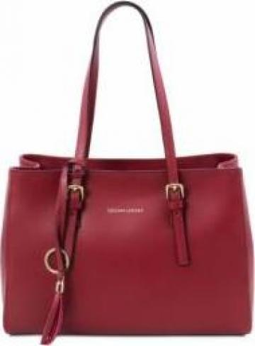 Geanta dama din piele naturala rosie, Tuscany Leather de la Omninova