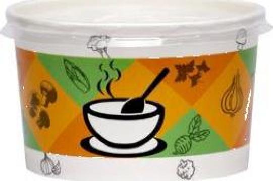 Bol supa carton imprimat 16oz (473cc) 500 buc/bax de la Cristian Food Industry Srl.