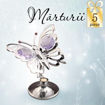 Marturie Fluturas cu cristale Swarovski violet