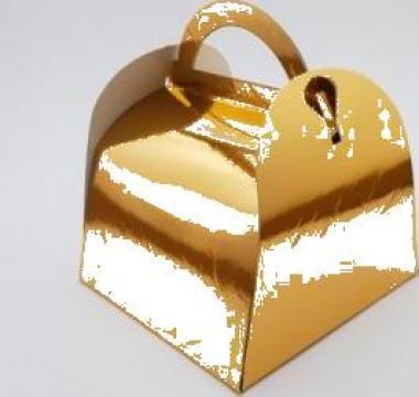 Cutie aurie prajituri 12x18x12,5cm 25 buc/set de la Cristian Food Industry Srl.