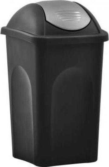 Cos de gunoi, capac oscilant, negru si argintiu, 60litri de la Vidaxl