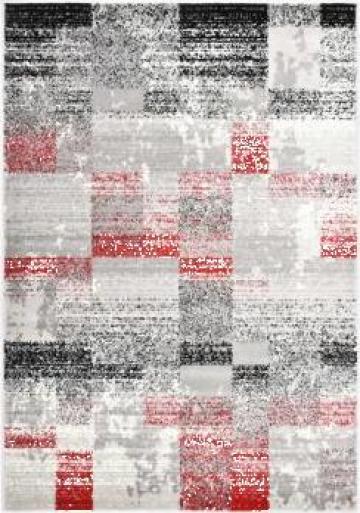 Covor, gri si rosu, 80 x 150 cm, PP de la Vidaxl