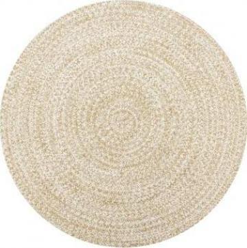 Covor manual, alb si natural, 150 cm, iuta